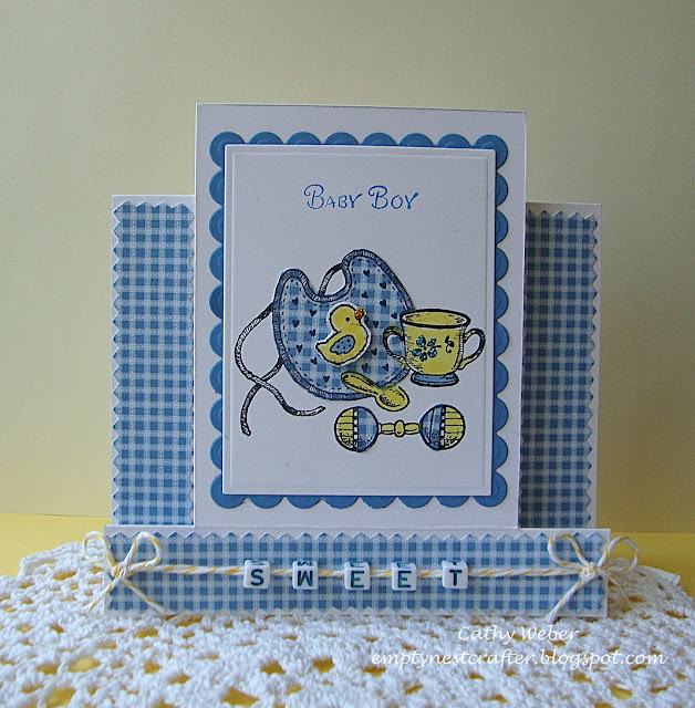 Serendipity Stamps Bib Etc Center Step Card Baby Boy