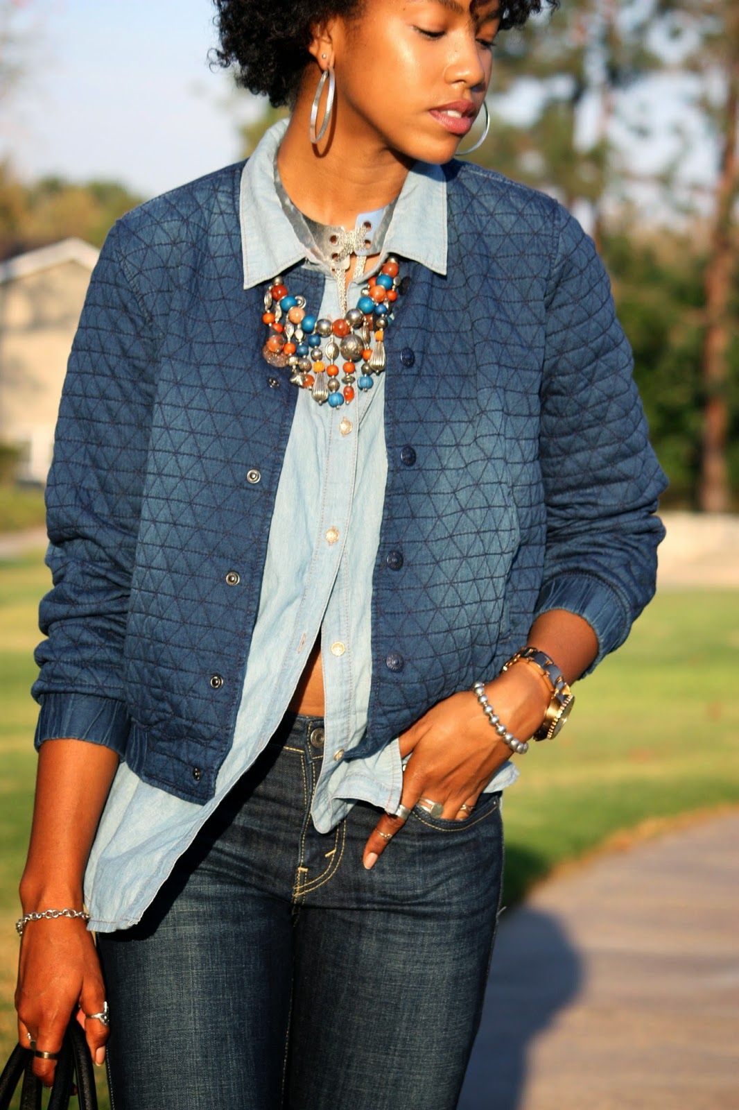 Wearing H&M quilted denim jacket accessorized with silver bib necklace vintage beaded necklace