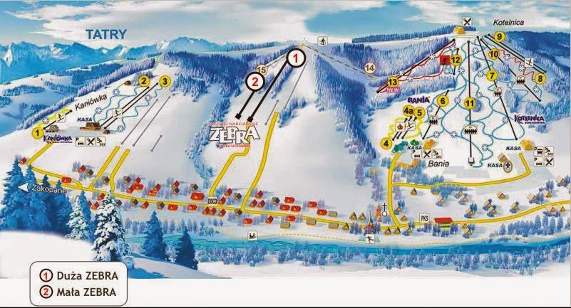 Wyciąg narciarski Zebra trasy narciarskie