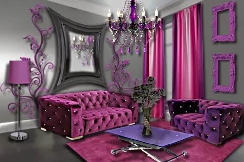 Diseño de sala donde el morado y púrpura oscuro ofrecen una