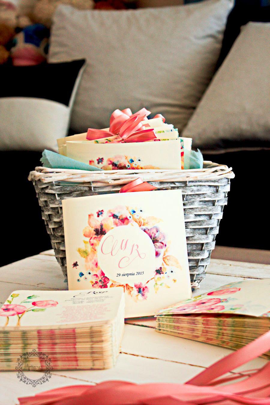 Zaproszenia ślubne w kwiaty Artirea blady róż