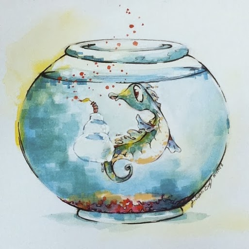 sea horse watercolor card