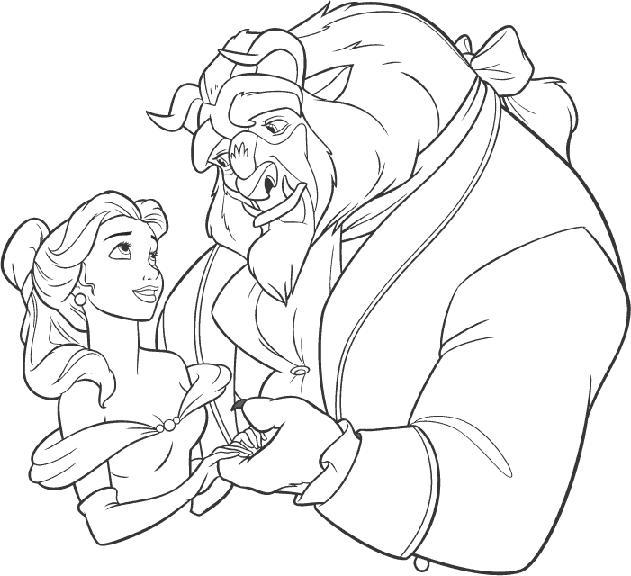 COLOREA TUS DIBUJOS: Dibujo de Bella y bestia