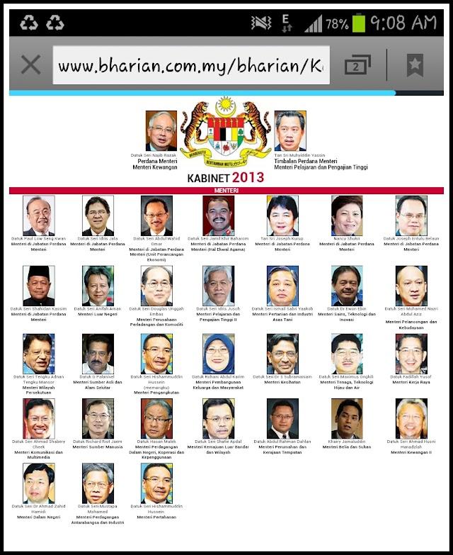 Kabinet 2013 | Senarai Menteri dan Timbalan Menteri Terbaru di Kabinet 2013