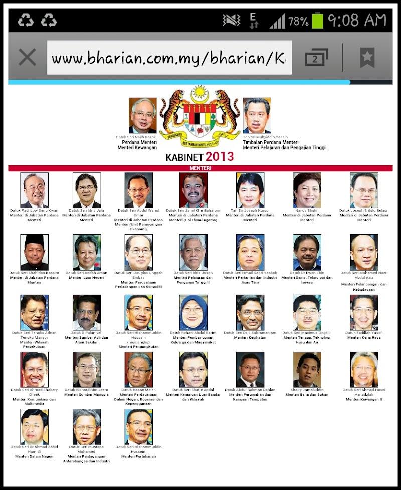 Kabinet 2013   Senarai Menteri dan Timbalan Menteri Terbaru di Kabinet 2013