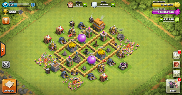 Farming Base Clash Of Clans TH 5 Layout