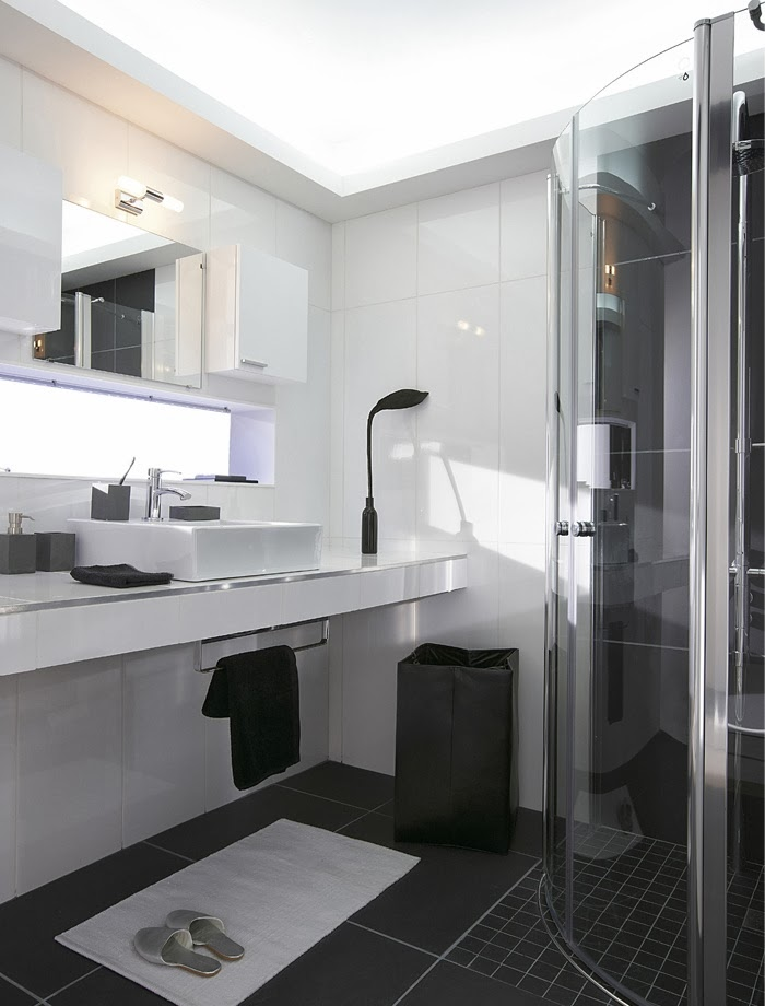 D co black white n 2 la salle de bains - Salle de bain moderne noir et blanc ...
