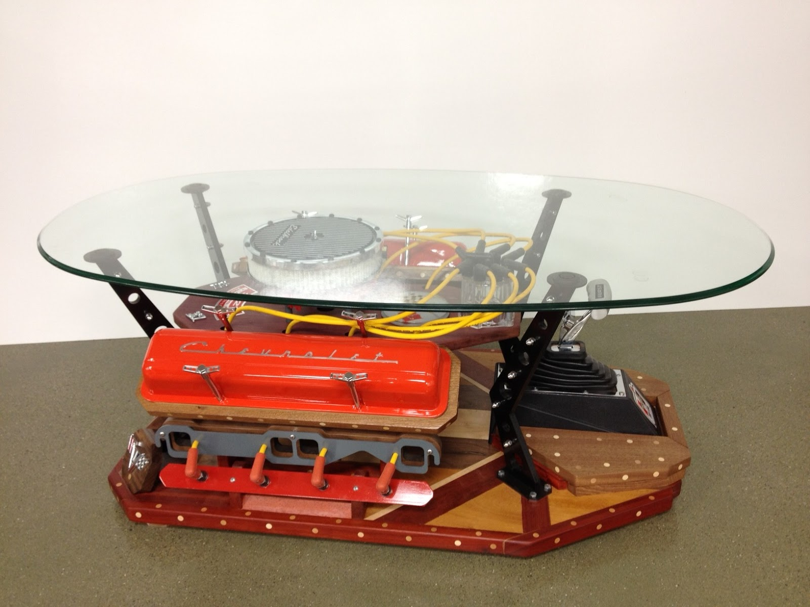 Glass top automotive coffee table corvette stingray 327 for Small block coffee table