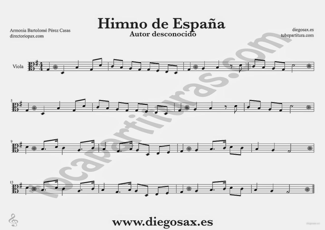 Tubepartitura Himno Nacional de España Partitura de Viola Himnos del Mundo
