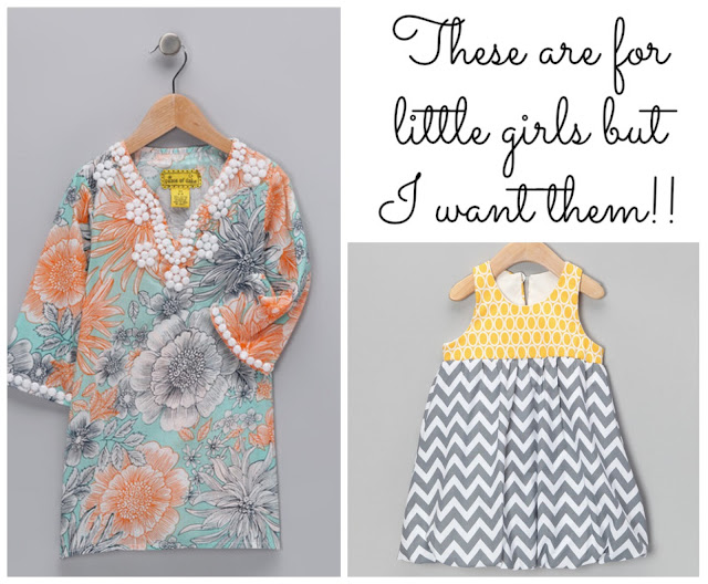 Jeweled tunic dress and grey chevron print dress from Zulily #cbias