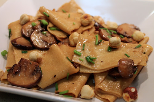 Toasted Fazzoletti with Mushrooms and Hazelnuts
