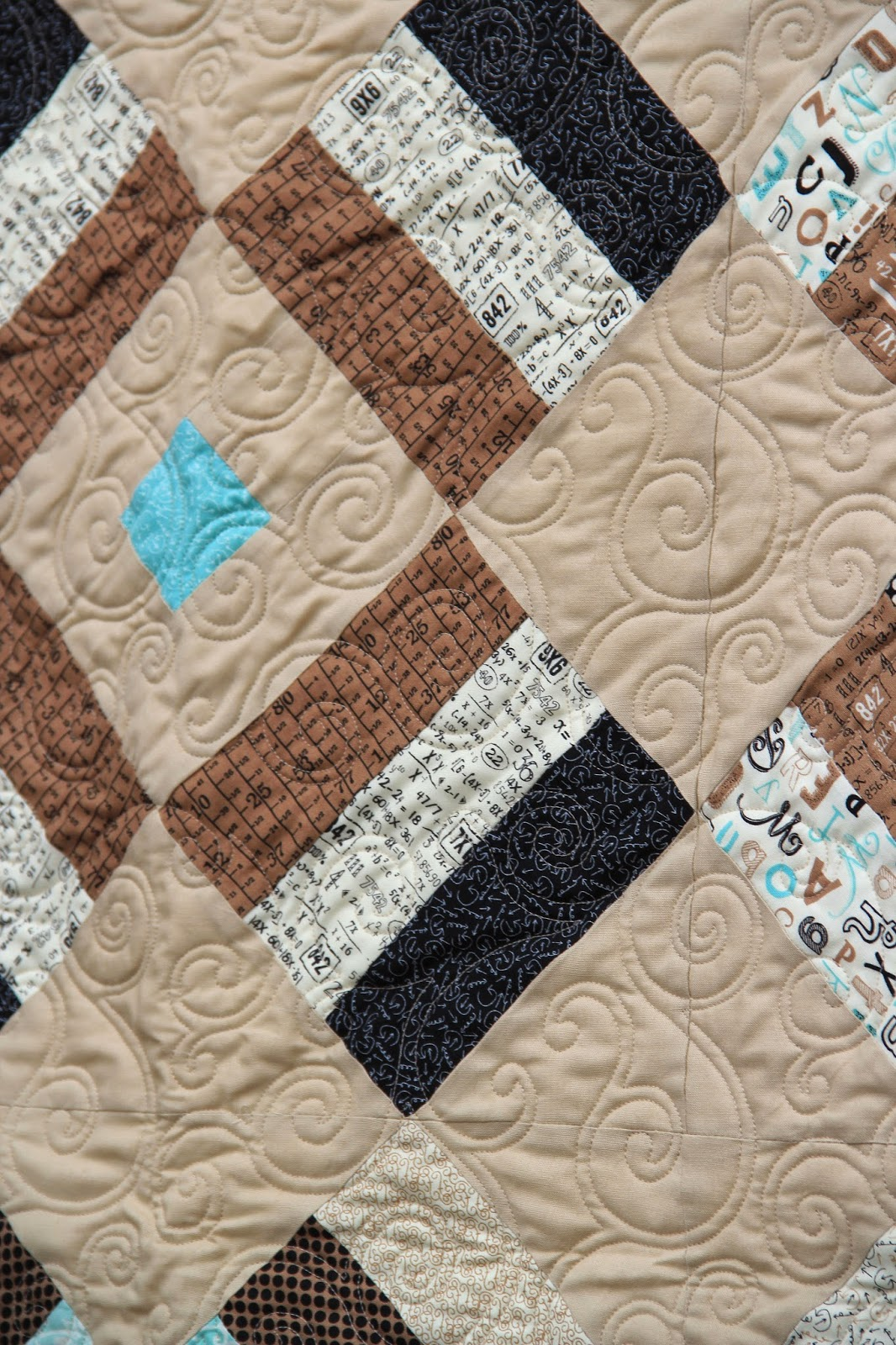 Close up on quilting design for sweetwater fabric line