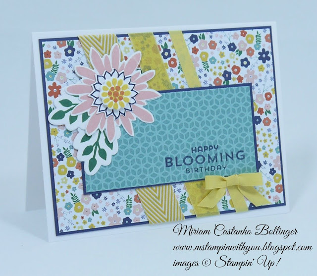 Miriam Castanho Bollinger, #mstampinwithyou, stampin up, demonstrator, ccmc, birthday card, flower pot dsp, flower patch bundle, big shot, su
