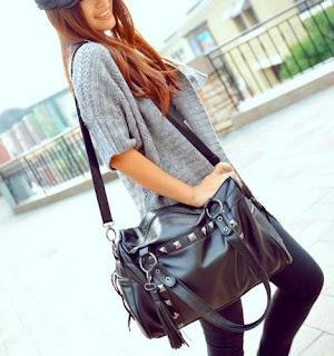 Womens Girls Black Rivets Tassel Tote Cross Body Shoulder Messenger Bag Handbag