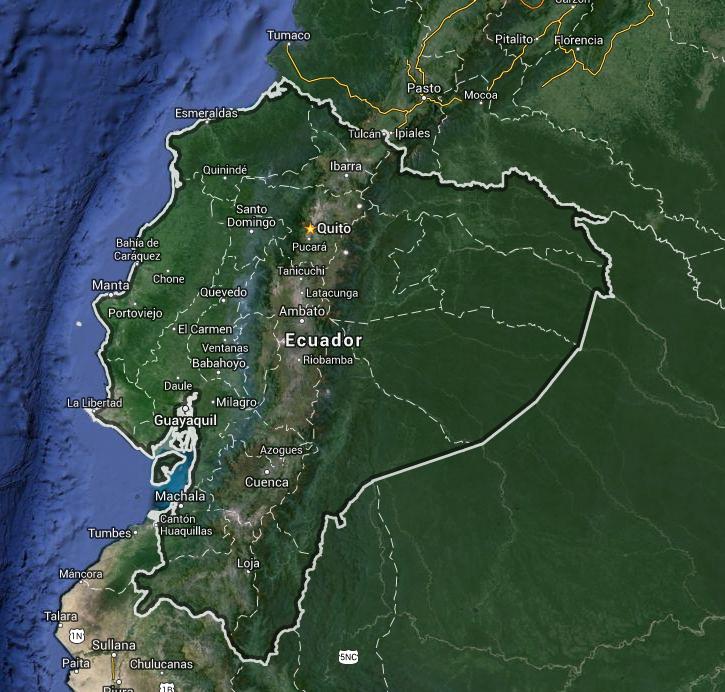 mapa satelital del Ecuador