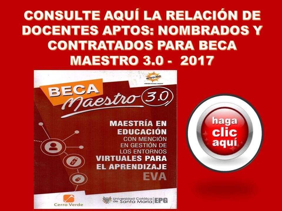 RELACIÓN DE DOCENTES APTOS PARA BECA MAESTRO 3.0 AÑO 2017