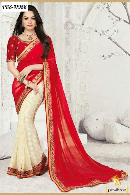 Star plus tv serial actress sagun specil red silk party wear saree online shopping