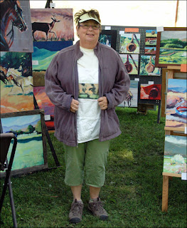 Kathy Meyers and her Paintings. photo by Sheela McLean