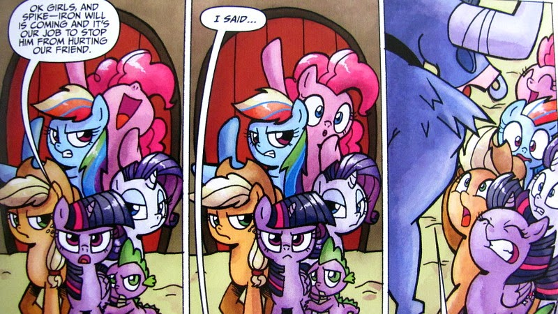 The Mane Six (well, Five plus Spike) prepare to defend Fluttershy
