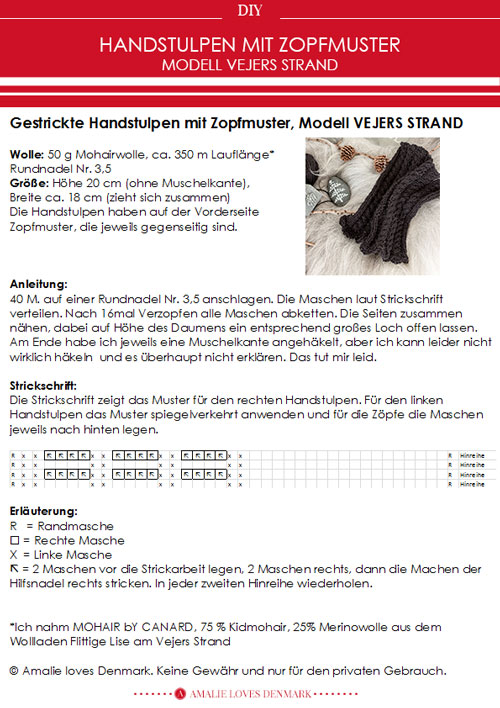 Amalie loves Denmark Wollhandstulpen mit Zopfmuster zum Selberstricken mit Anleitung