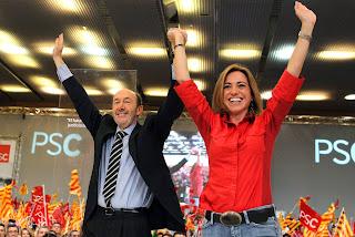 Rubalcaba y Carme Chacón, durante la campaña electoral de 2011