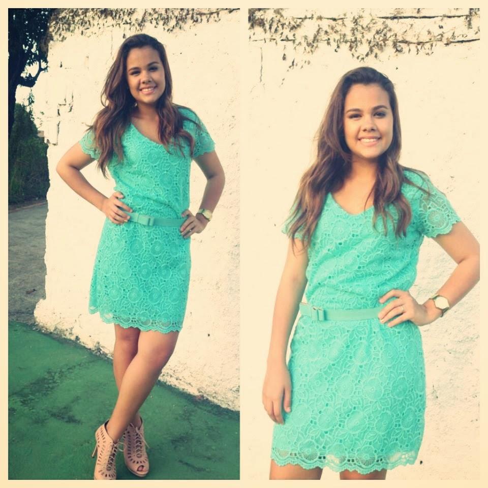 Vestido de guipir verde agua