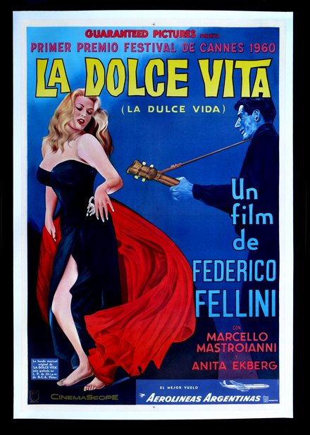 free printable, printable, classic posters, free download, graphic design, movies, retro prints, theater, vintage, vintage posters, La Dolce Vita, Federico Fellini - Vintage Movie Poster
