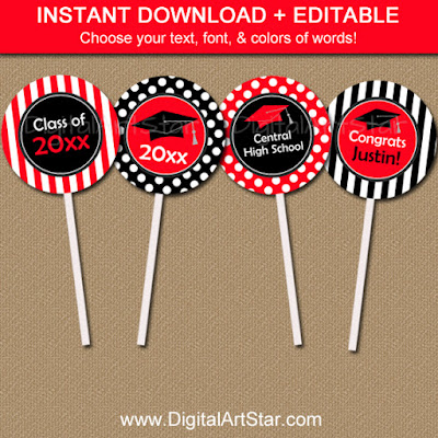 Red & Black Graduation Cupcake Picks