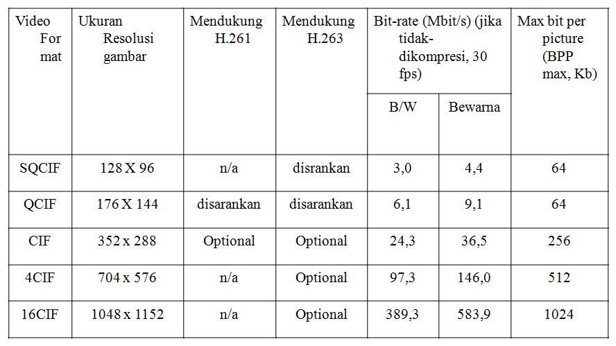 Tabel komponen Pendukung Video Format