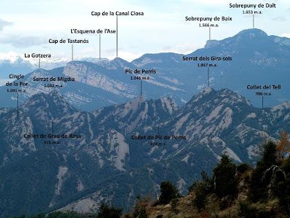 Les serres de Picancel i del Catllaràs vistes mentre baixem del Serrat de Sant Isidre