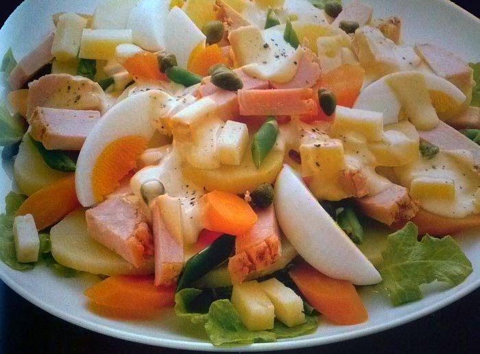 alimentación, ensalada, ensaladas, huevos, patatas, pavo, receta, sana