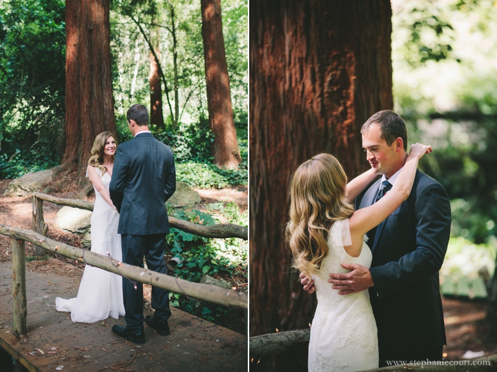wedding day first look in the redwoods