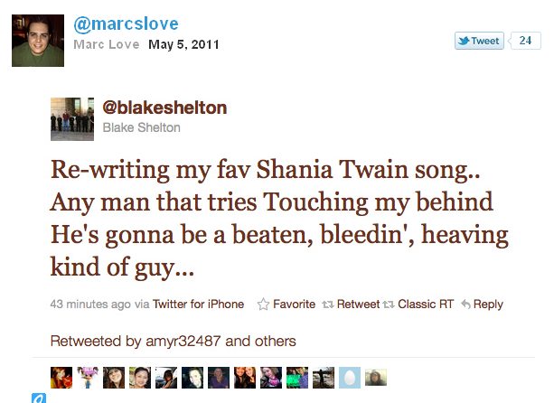 blakeshelton%252527s%2Bgay bashing%2Btweet Anal area of the dead child on whom anal intercourse had been performed