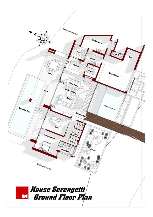 Ground floor plan of Serengeti House by Nico van der Meulen Architects
