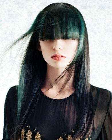 Black Hair and Green Highlights 2014