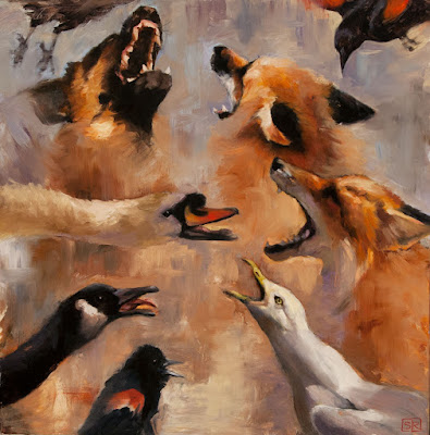 red fox, hound, Canada goose, red-winged blackbirds, and gull fighting