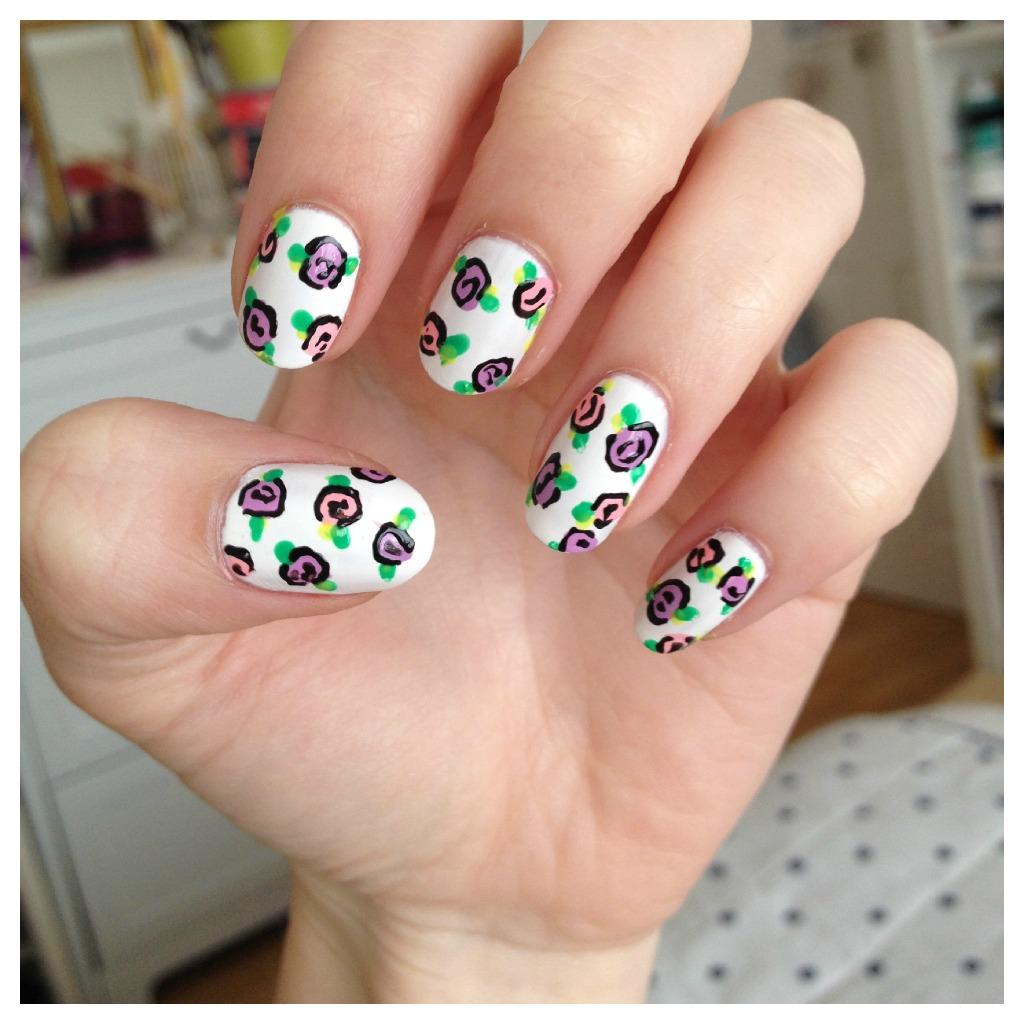 DIY floral rose nail art