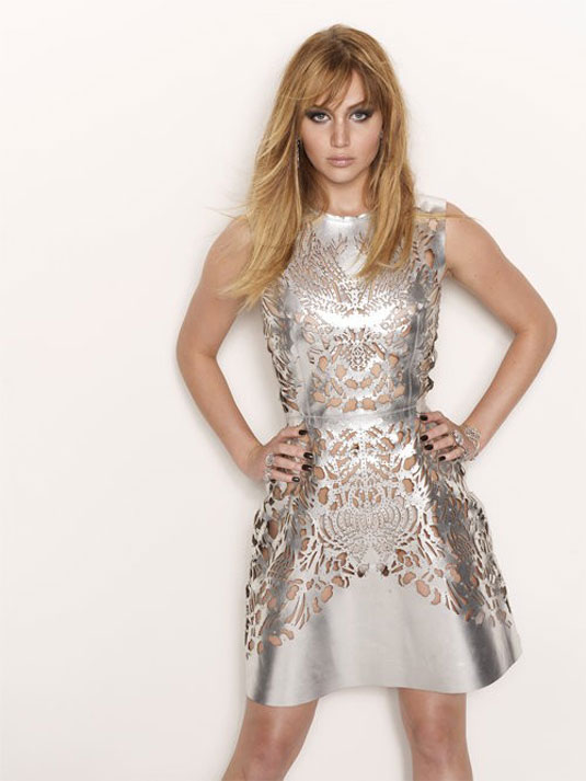 Jennifer Lawrence in a silver dress photo shoot for Interview Magazine 2012