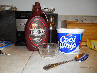Ingredients. Chocolate Mousse. Cool whip. Chocolate Syrup. Spoon. Bowl.