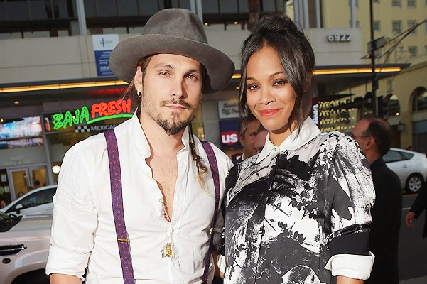 Zoe Saldana and Marco Perego at the premiere of Kantinflas