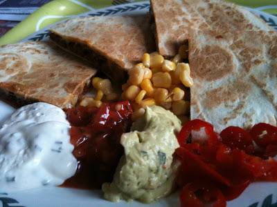 veggie chilli quesadillas with dips and jalapenos