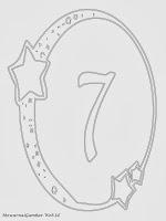 Mewarnai angka 7 bergaya bulan dan bintang