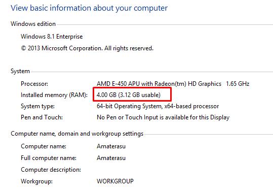 RAM 4 GB dengan (3.12 Usable)