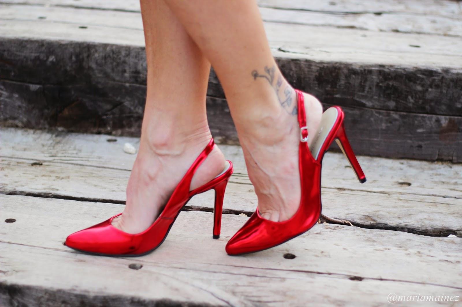 Stilettos rojos metalizados - Stilettos rojos - Calzado piel - Calzado made in spain