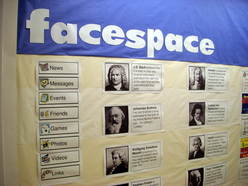 http://www.teacherspayteachers.com/Product/facespace-Composers-and-Social-Networking-Music-Bulletin-Board-Kit-506907
