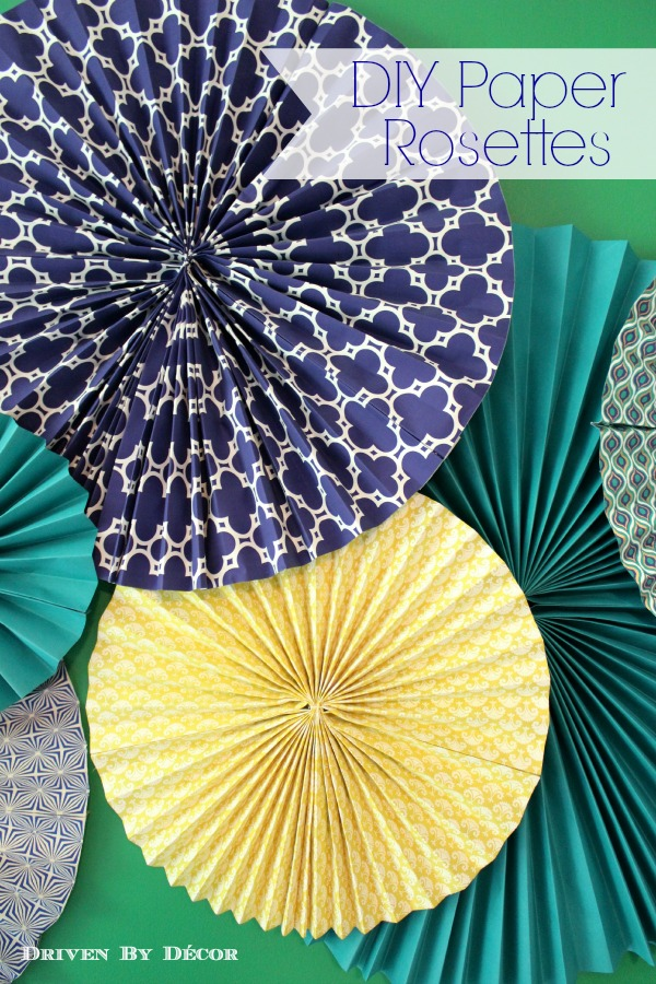 Diy tutorial how to make paper rosettes driven by decor for How to make decorations for your room out of paper