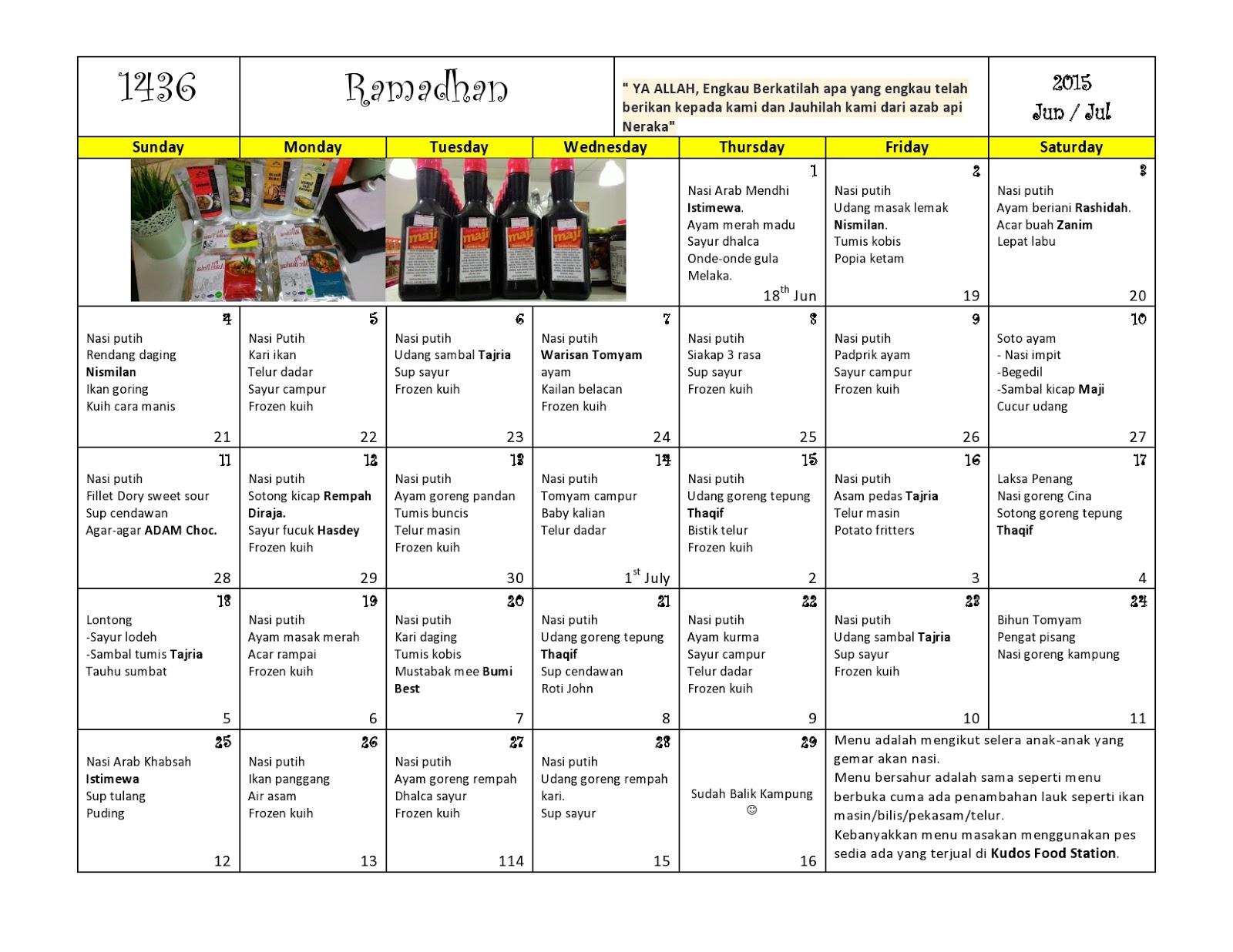 Jadual Menu Sebulan Ramadhan