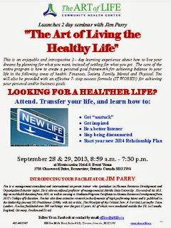Art of Living the Healthy Life, seminar with Jim Parry in Toronto; September 28-29, 2013; poster