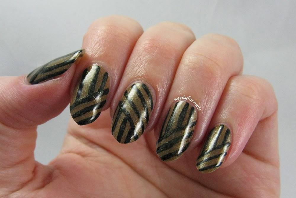 China Glaze- Mind the Gap- All Aboard Collection- Geometric Line Nail Art