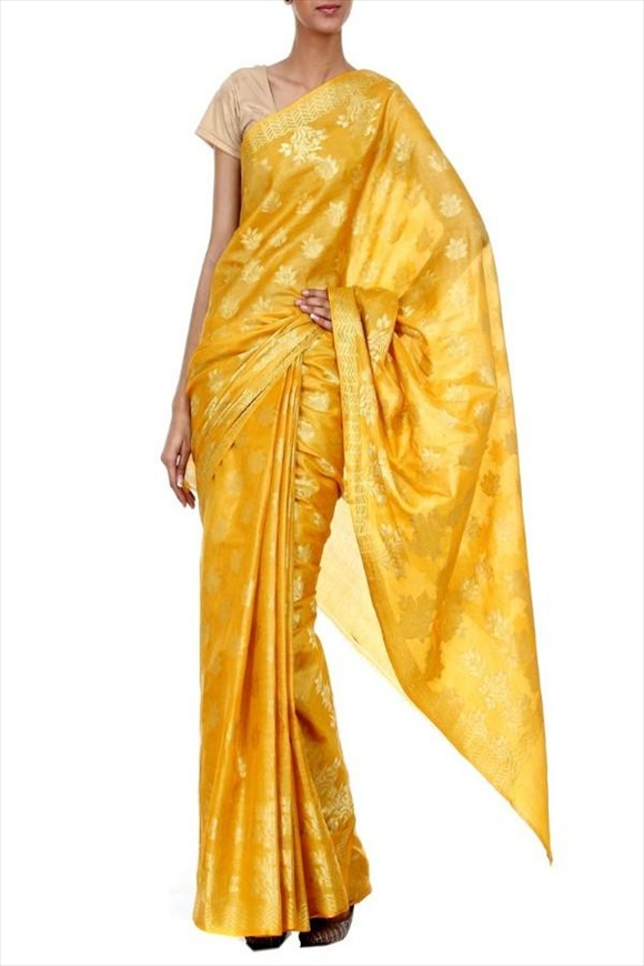 Maize Yellow Tassar Banarasi Saree